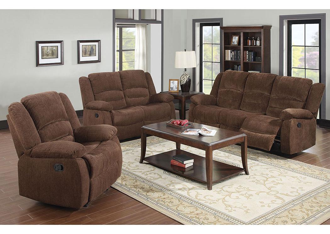 Ace Furniture and Decor Bailey Dark Brown Chenille Sofa w/Motion