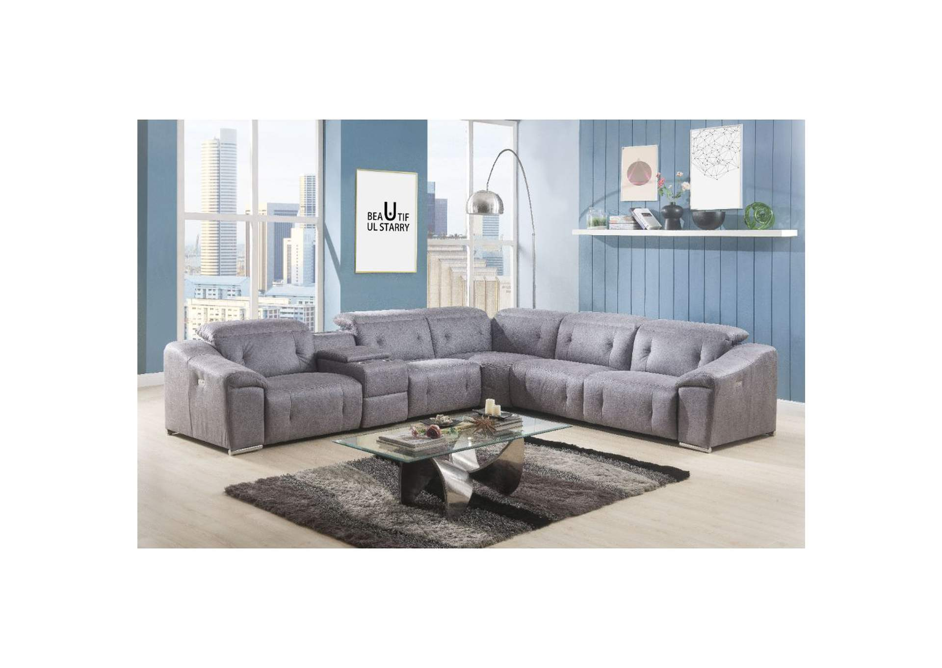 The Furniture Outlet NY Hosta Gray Microfiber Sectional Sofa