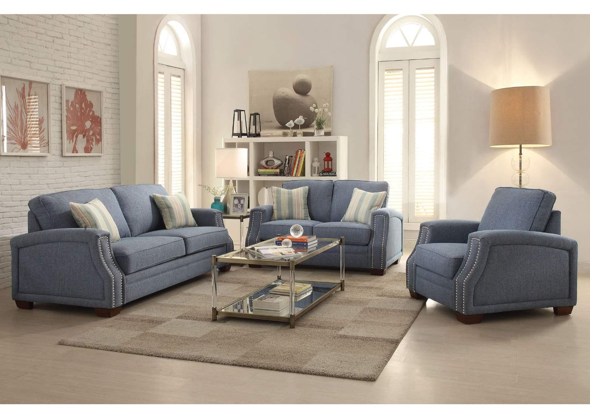 Foothills Family Furniture Betisa Blue Sofa w/2 Pillow