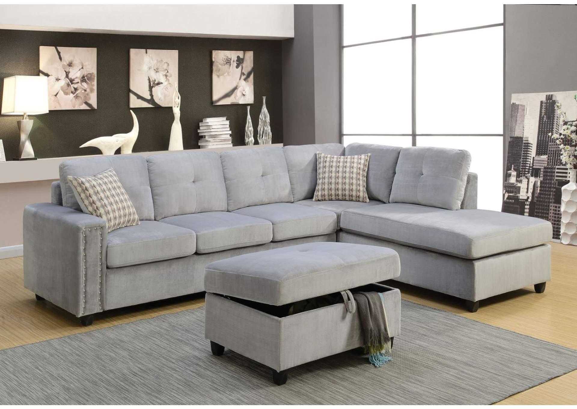 Affordable Furniture & Carpet - Chicago, IL Belville Gray Velvet ...
