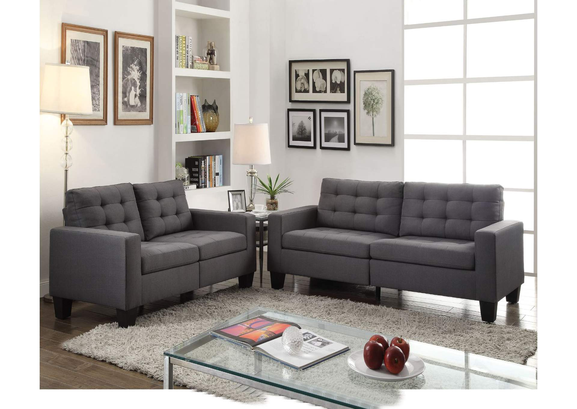 Earsom Gray Linen Sofa,Acme