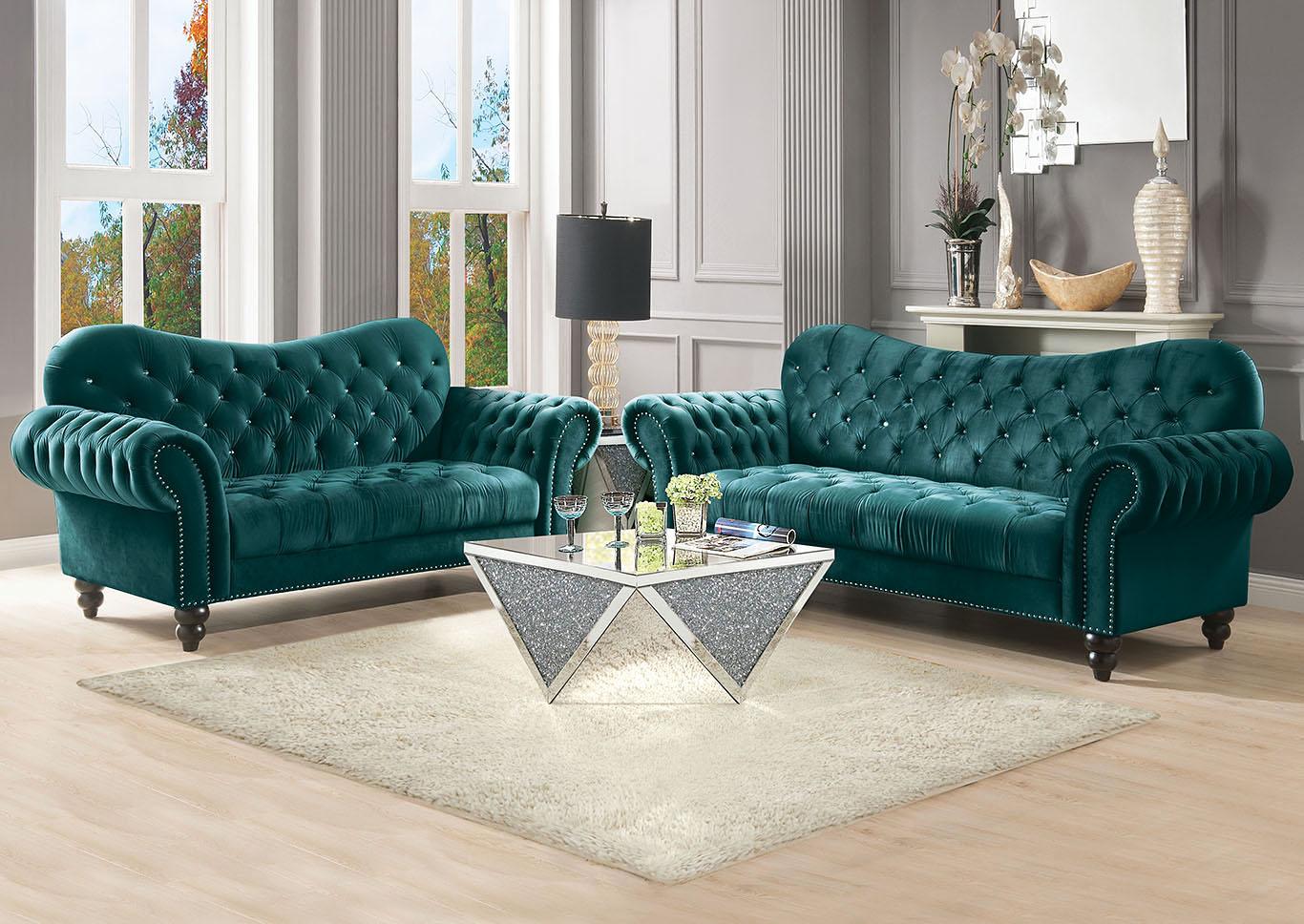 Foothills Family Furniture Iberis Green Velvet Sofa and Loveseat