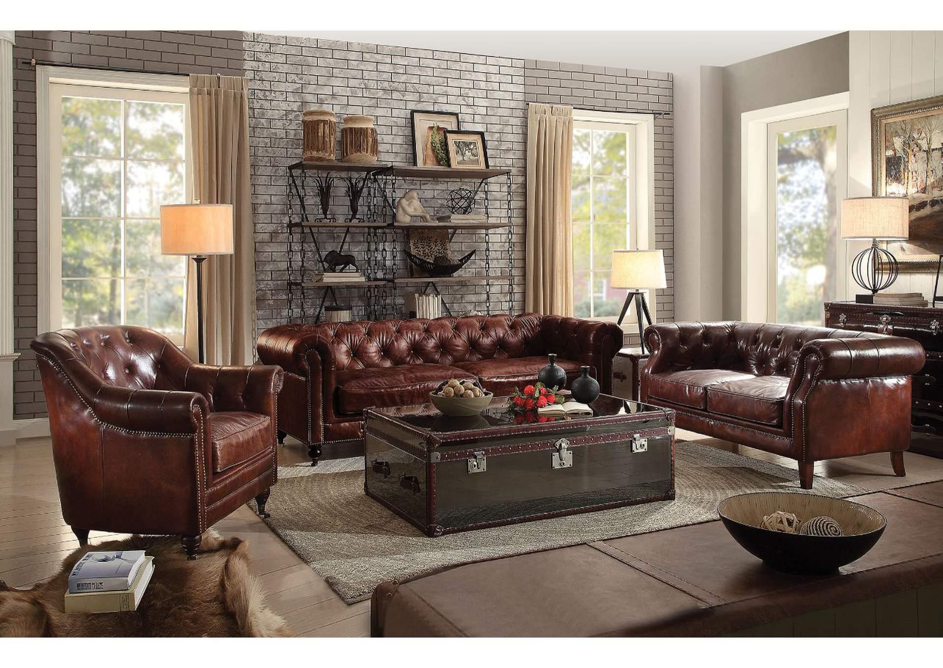 Furniture Factory - CA Aberdeen Vintage Dark Brown Leather Sofa