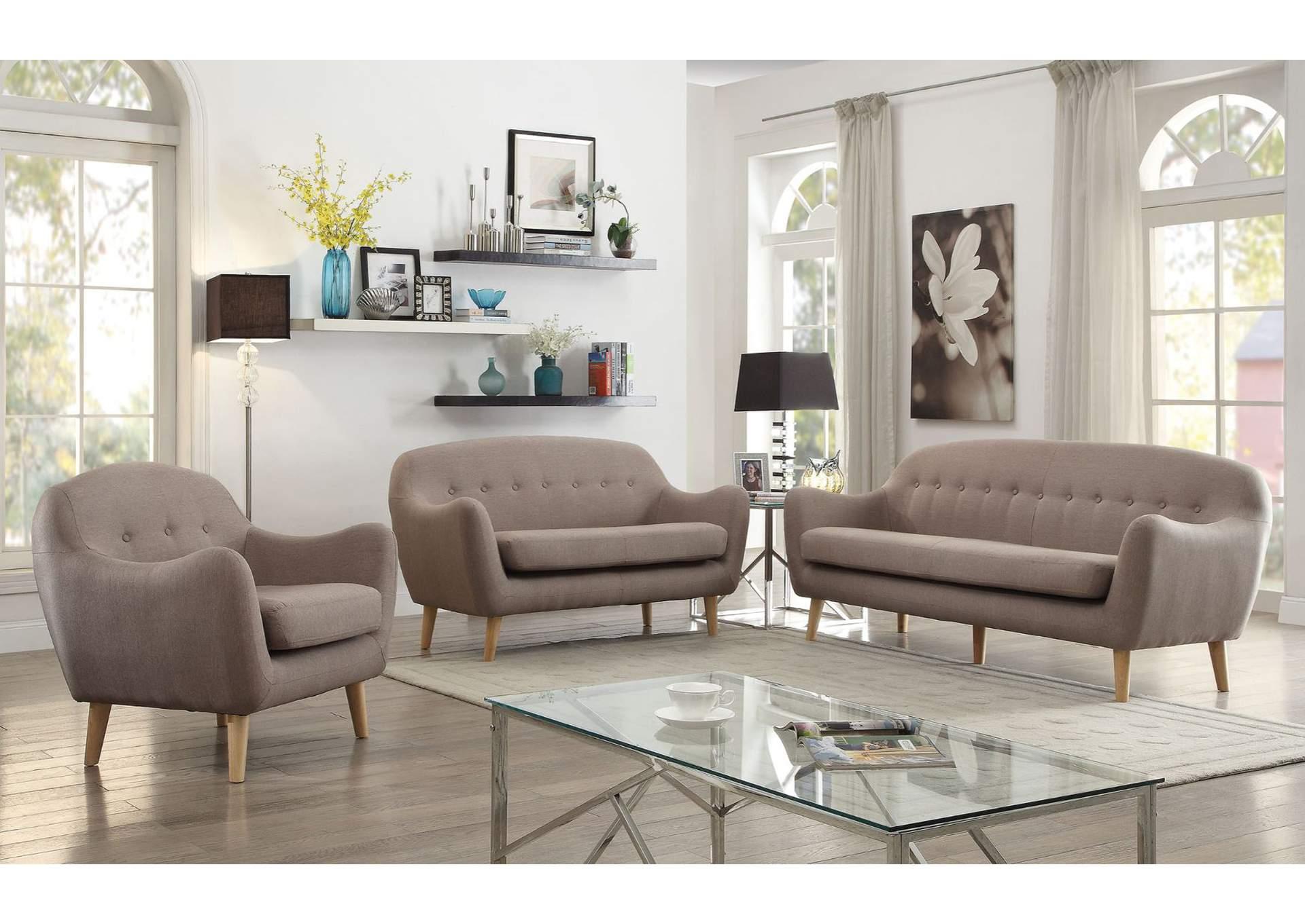 Jillian Light Brown Linen Chair,Acme