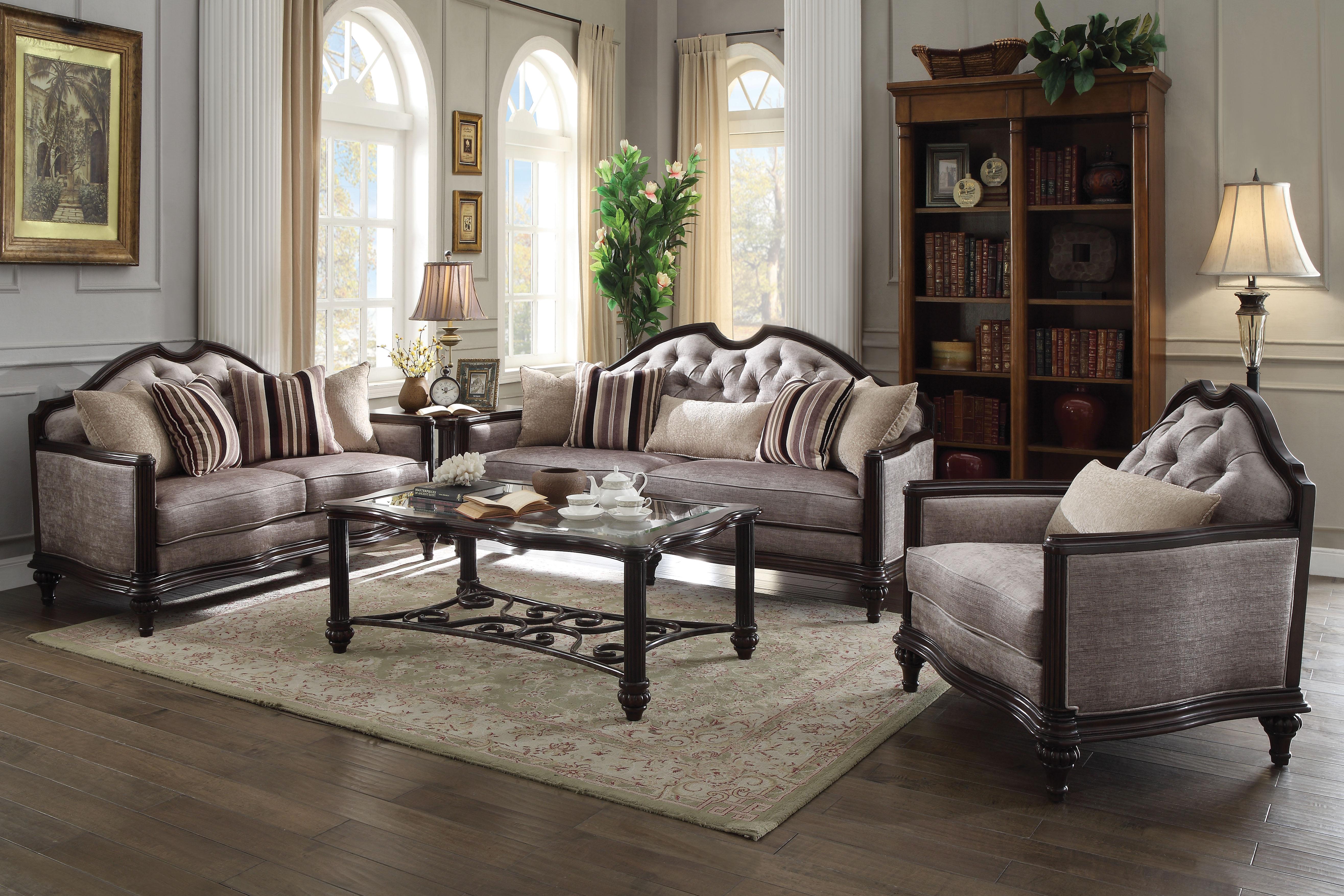 Azis Gray Fabric U0026 Dark Walnut Sofa W/5 Pillows,Acme