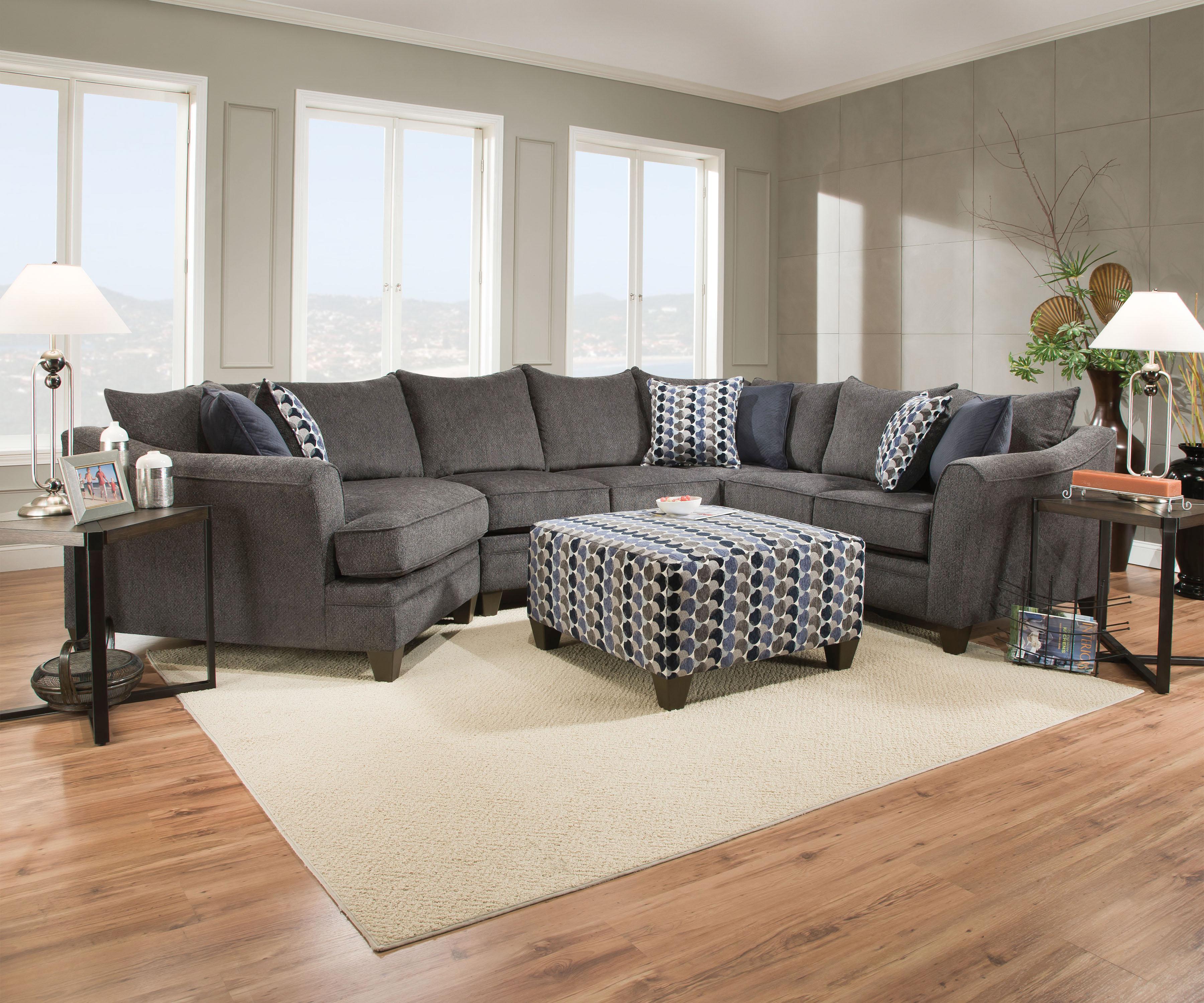 Wonderful Albany Dark Gray Sectional Sofa W/Pillows,Acme