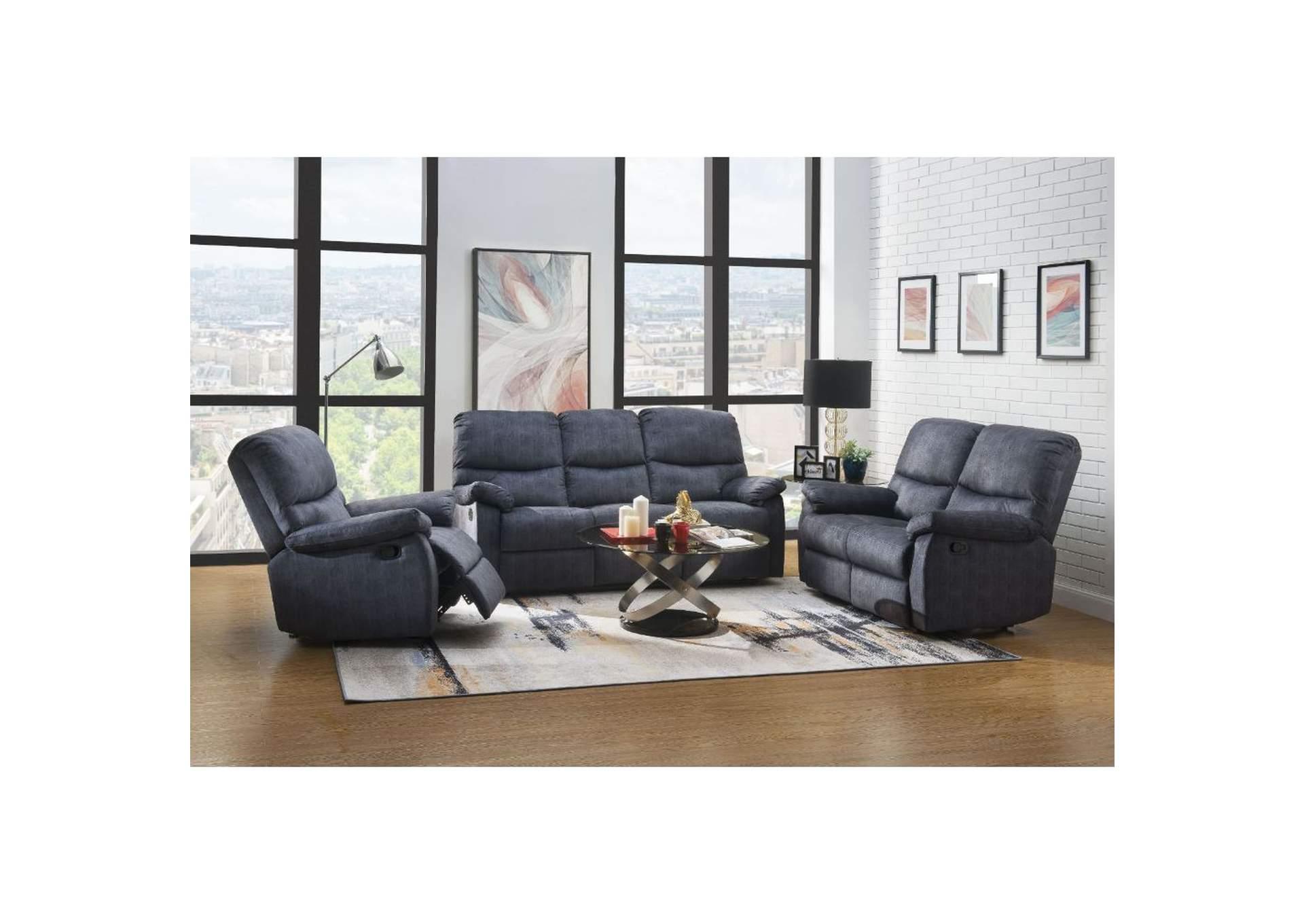 Ideal Furniture San Antonio West Saul Ii Slate Blue Velvet Reclining