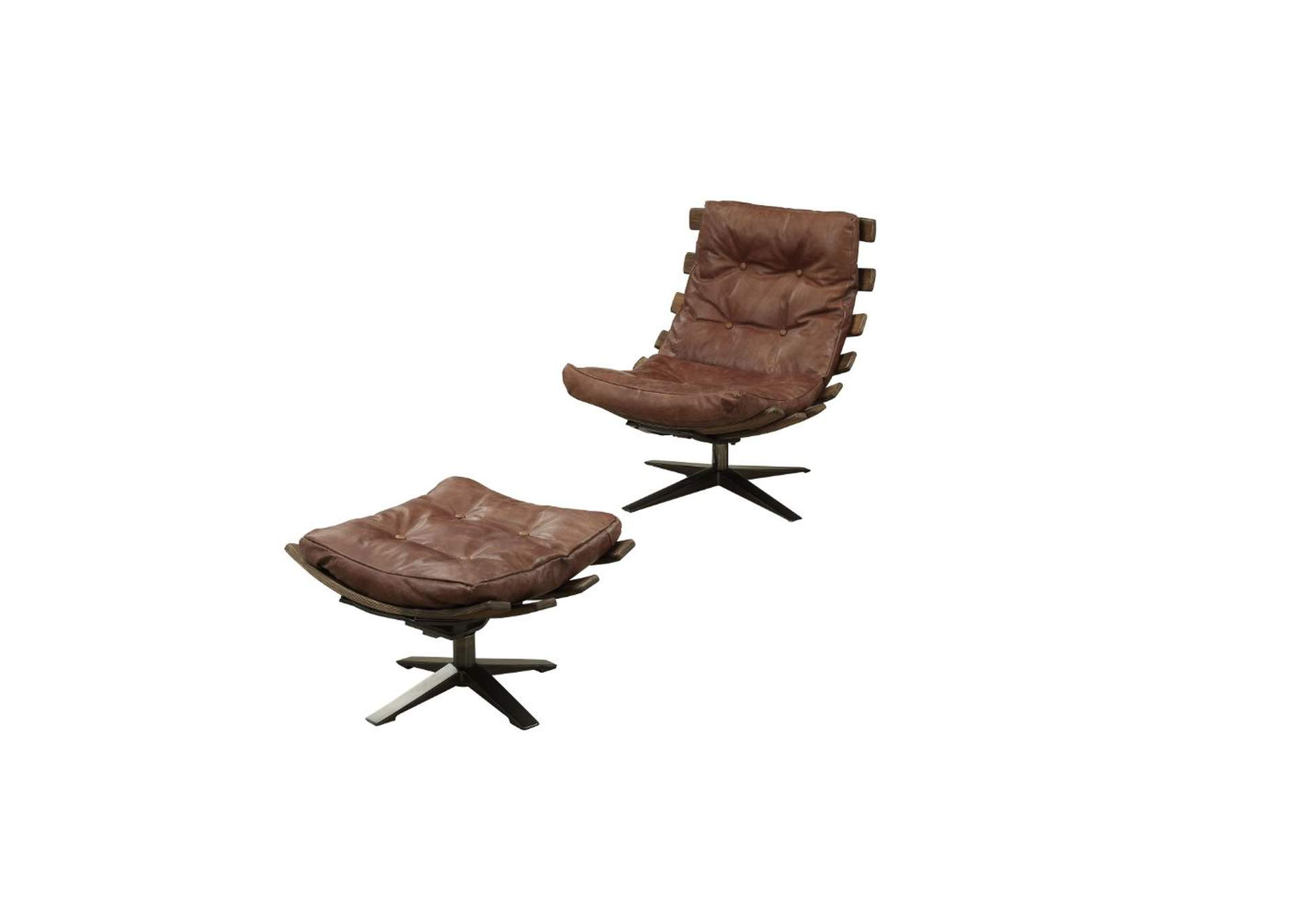 Gandy Retro Brown Chair and Ottoman (Set of 2),Acme