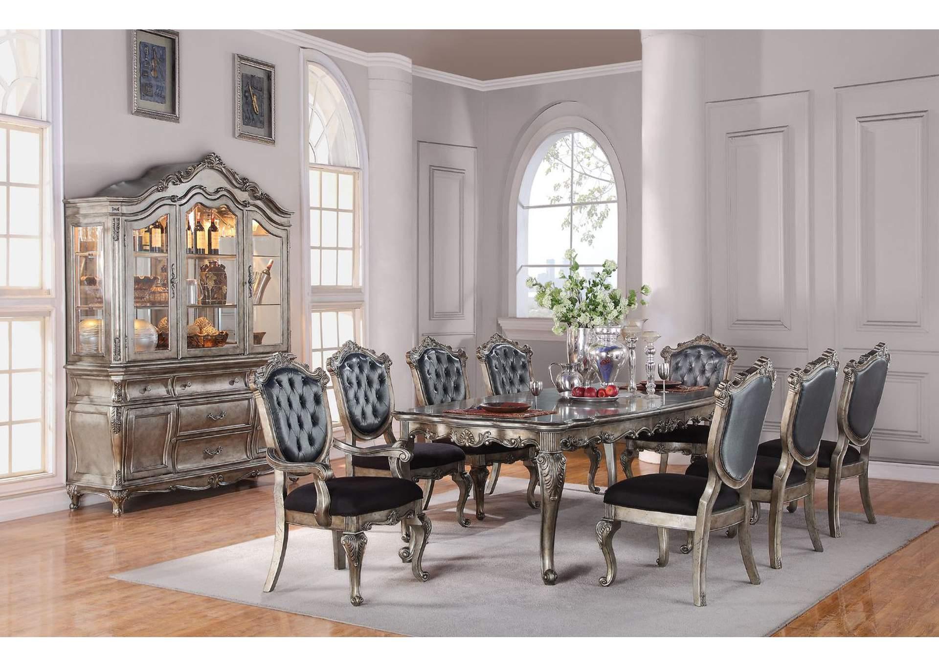 Oak Furniture Liquidators Chantelle Antique Platinum Dining Table W