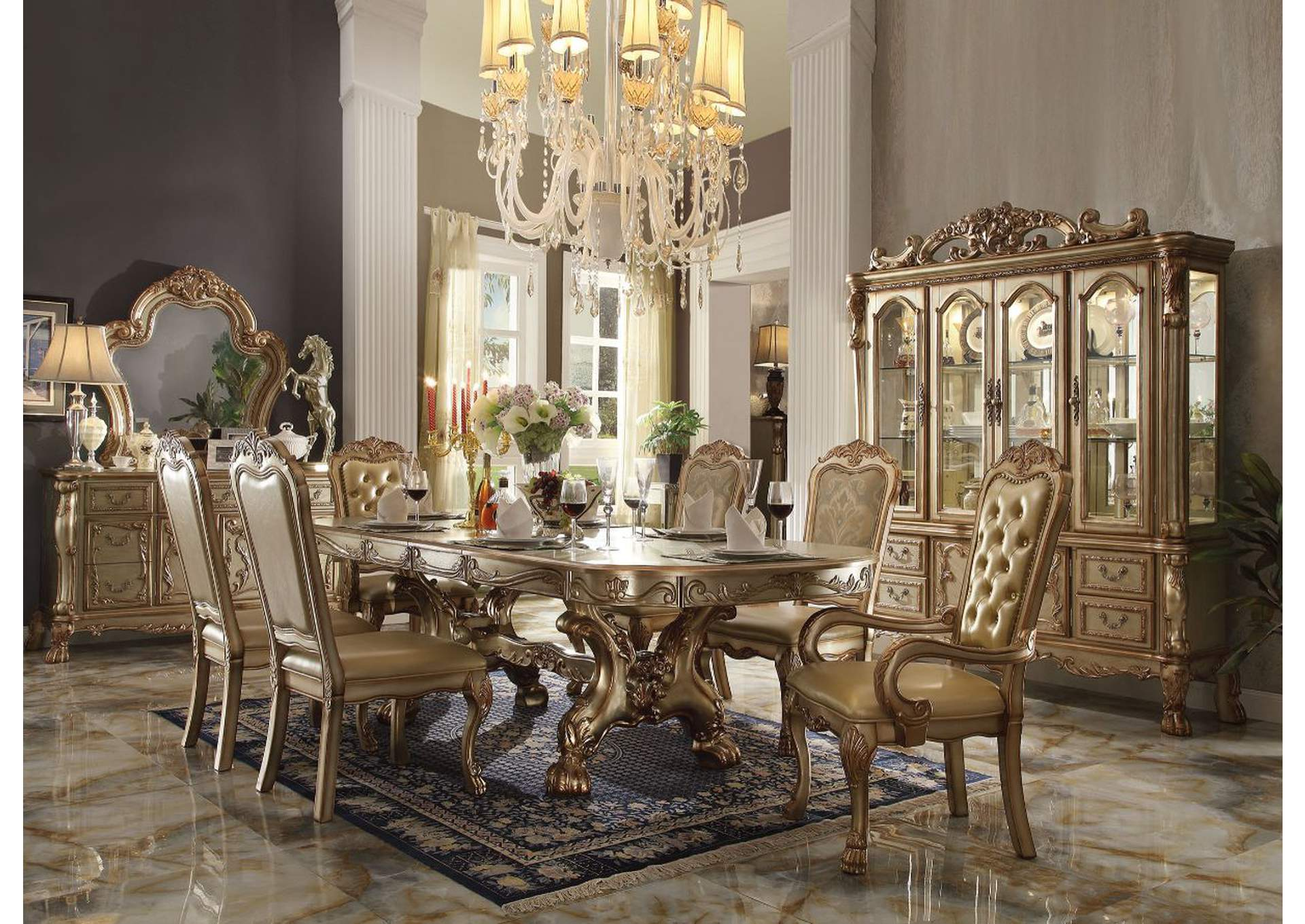 Dresden Gold Patina & Bone Dining Table,Acme