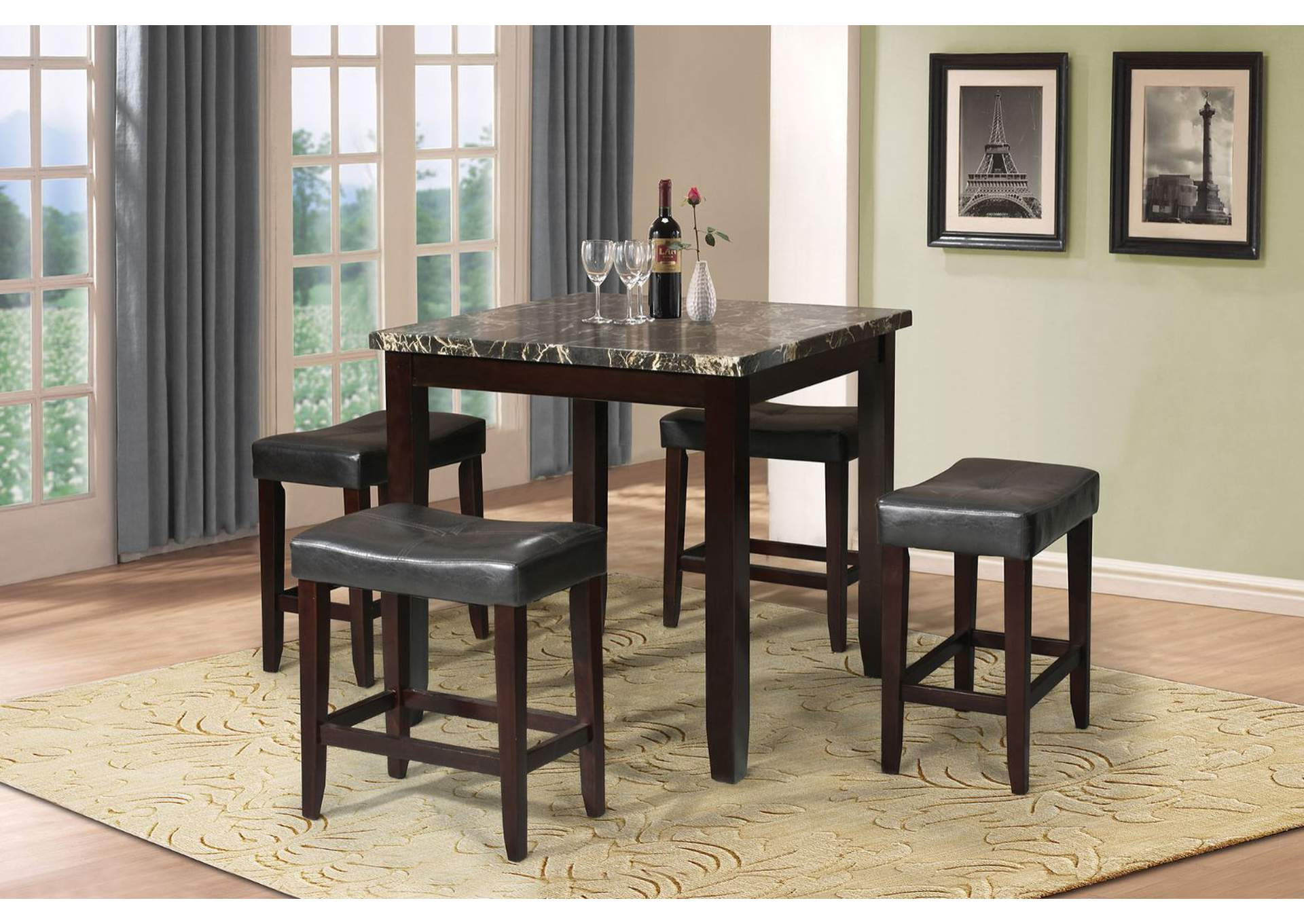 Ainsley Black Faux Marble & Espresso 5 Piece Counter Height Set,Acme