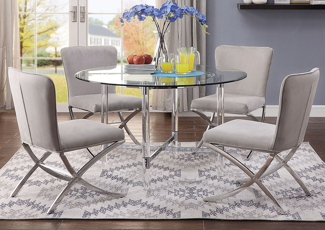 Furniture Now Daire Chrome Clear Glass Dining Table