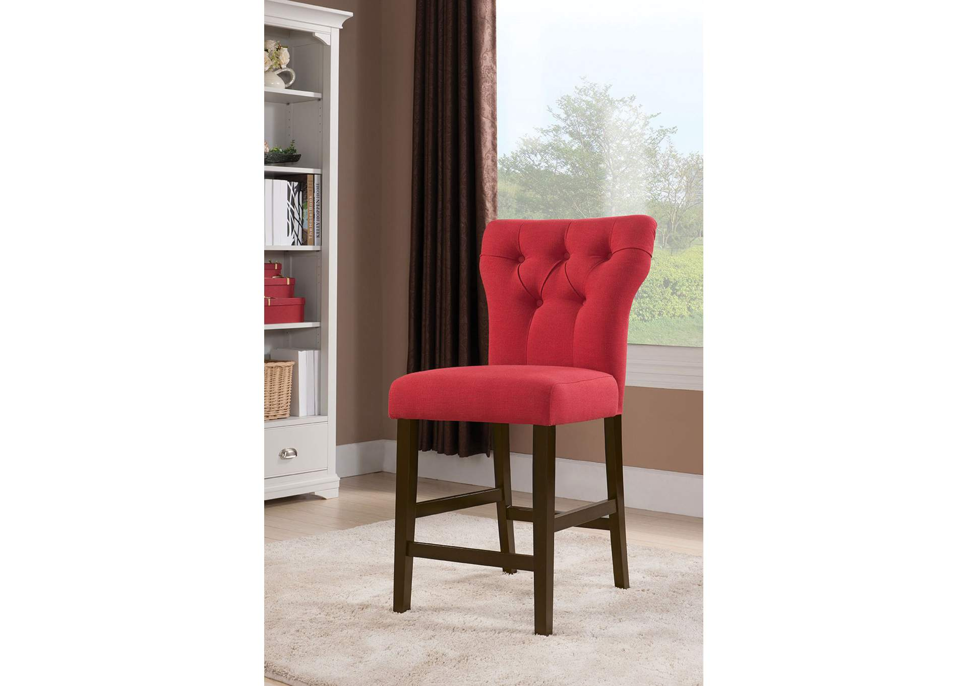 Family Furniture Tx Effie Red Counter Height Chair