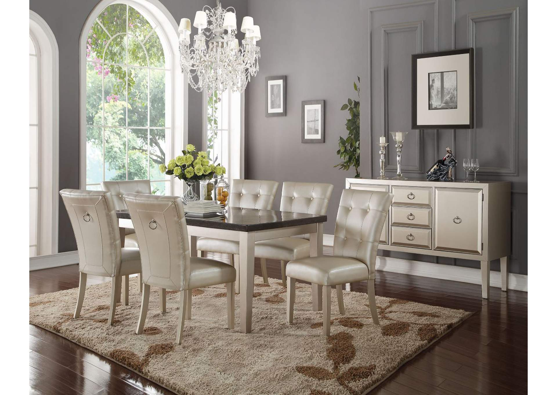 Voeville II Bluestone & Platinum Dining Table,Acme