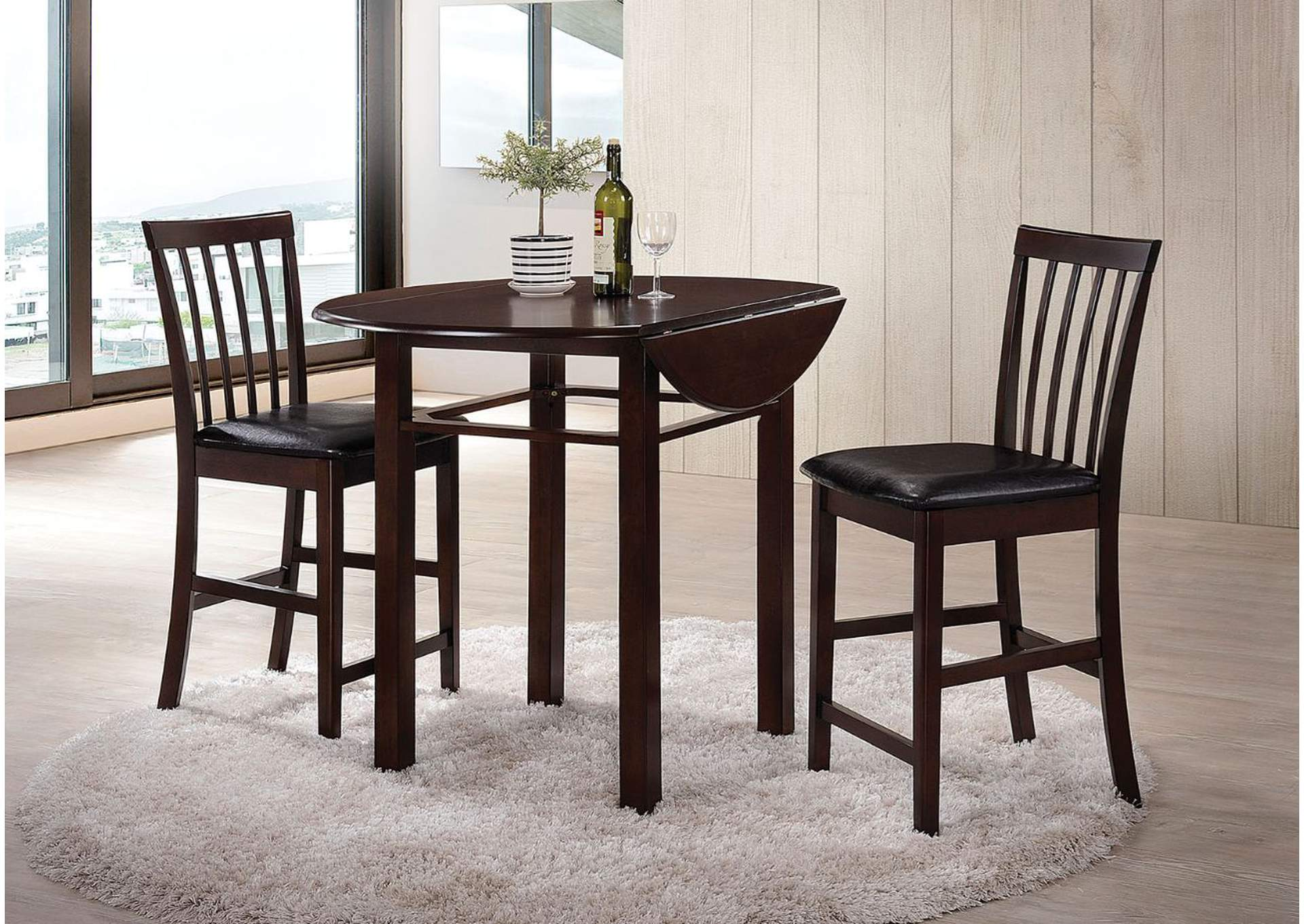 Artie Espresso & Black PU 3 Piece Counter Height Dining Set,Acme