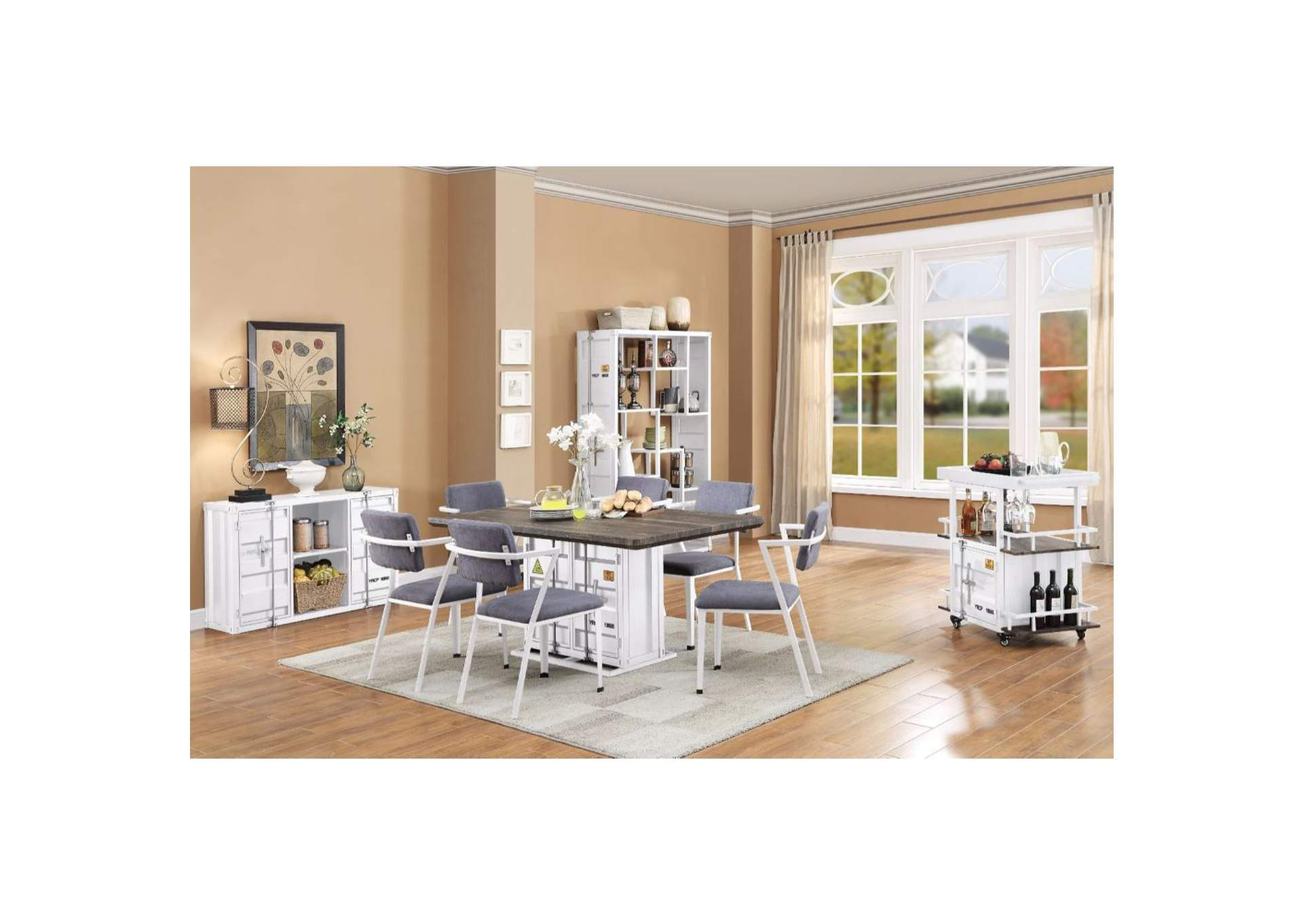Cargo Walnut/White Dining Table,Acme