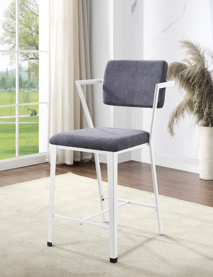 Cargo Gray/White Counter Chair (Set of 2),Acme