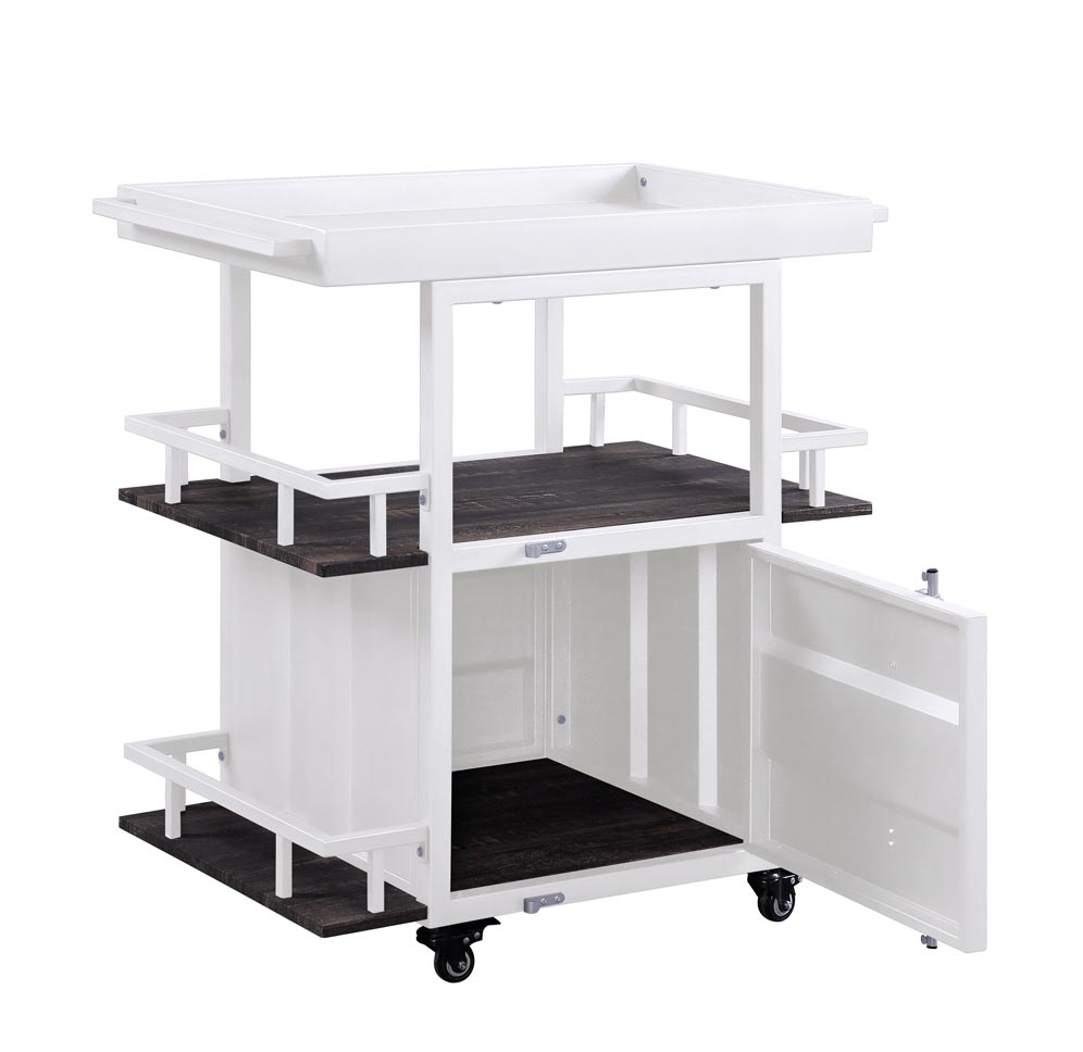 Cargo Walnut/White Serving Cart,Acme