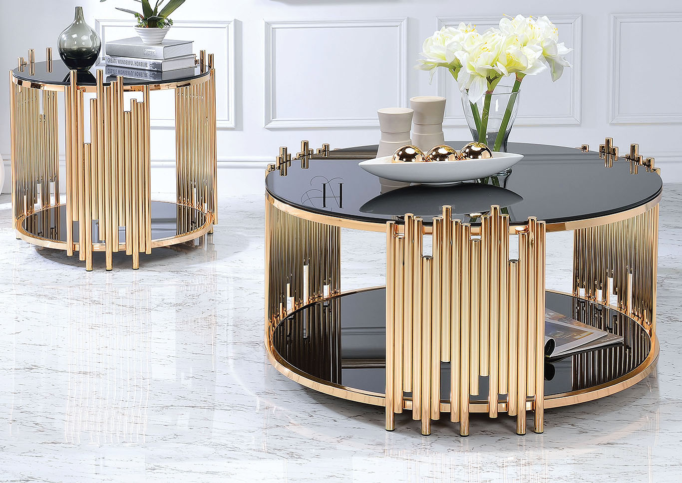 Tanquin Gold Black Glass Coffee Table Foothills Family Furniture