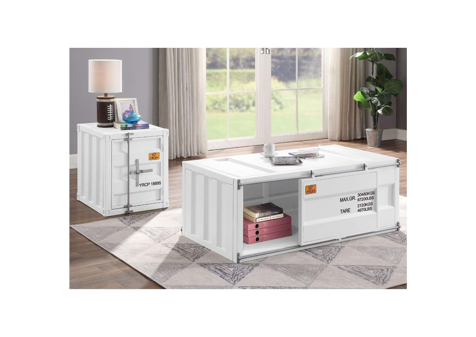 Cargo White Coffee Table,Acme