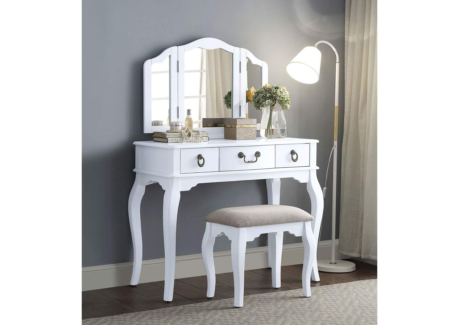 Best Buy Furniture and Mattress Abelus Tan White Vanity Set