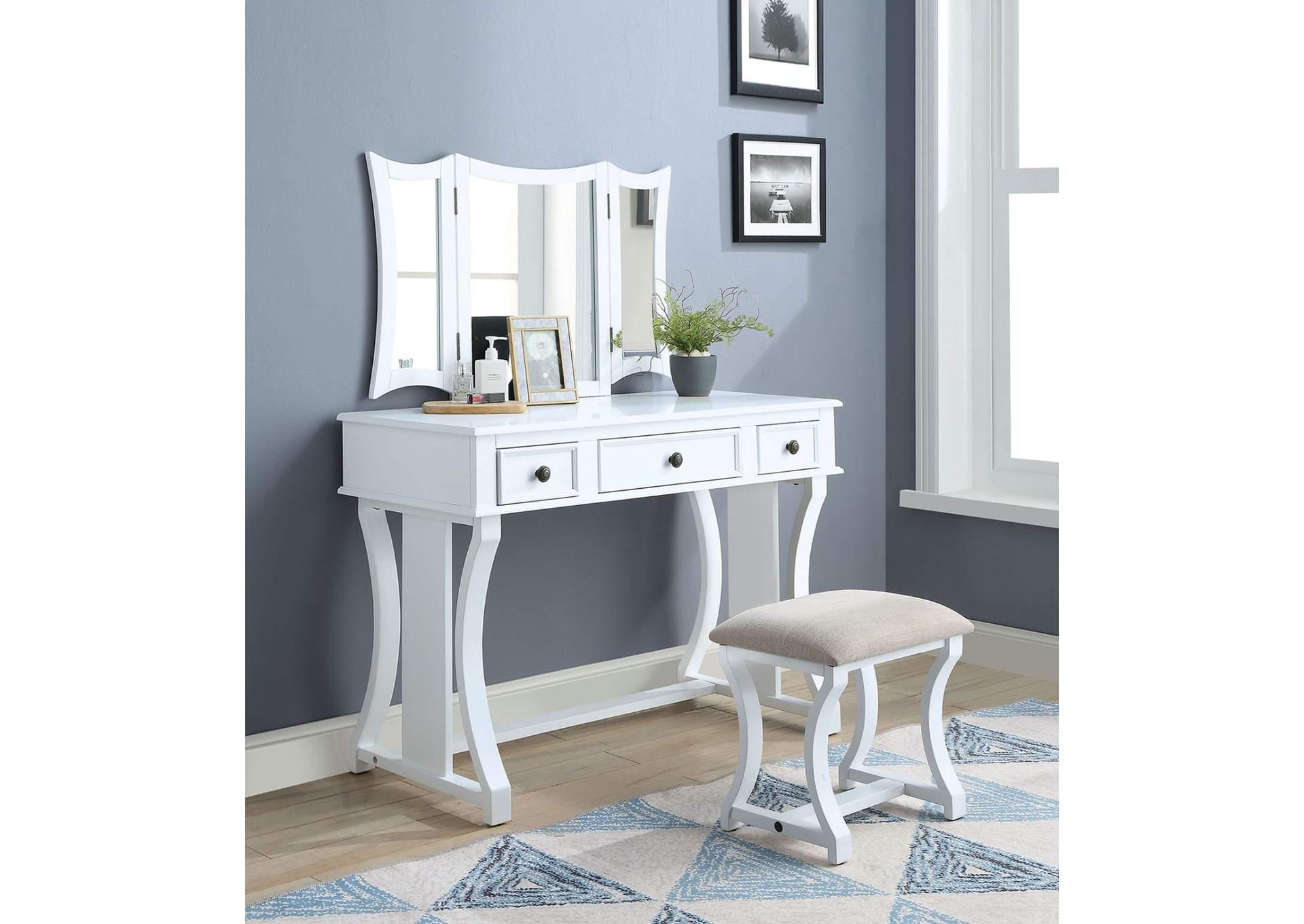 Goree\'s Furniture - Opelika, AL Popidia Tan White Vanity Set