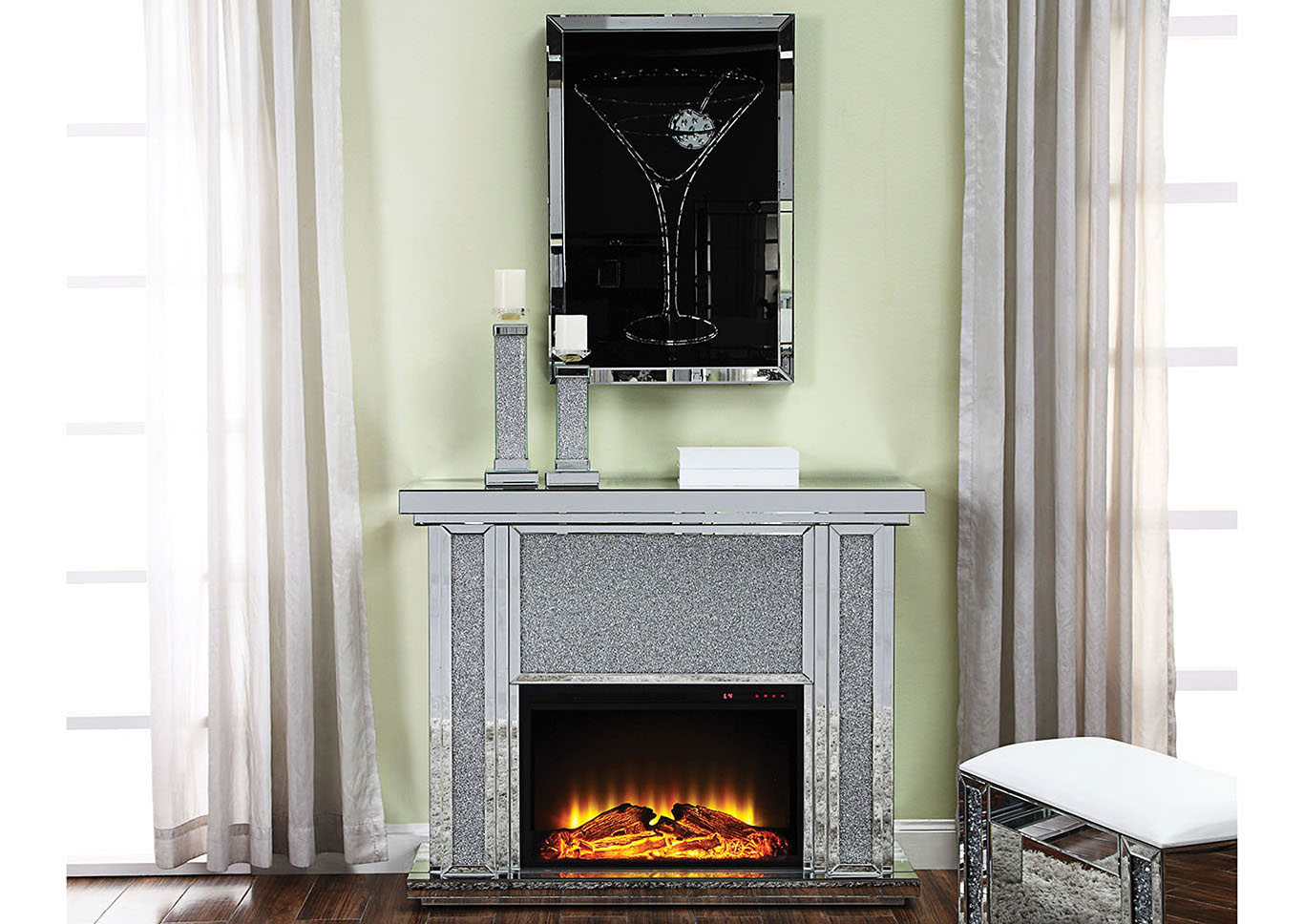 Nowles Silver Electric Fireplace,Acme
