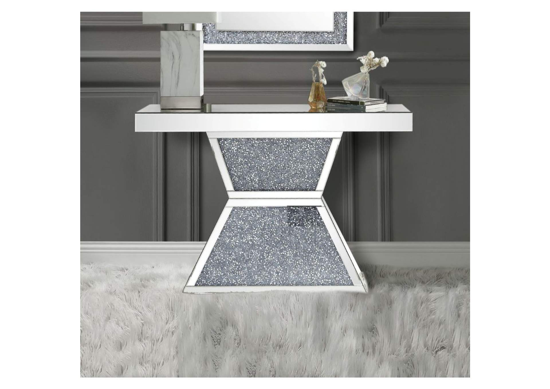 Noralie Mirrored Console Table,Acme