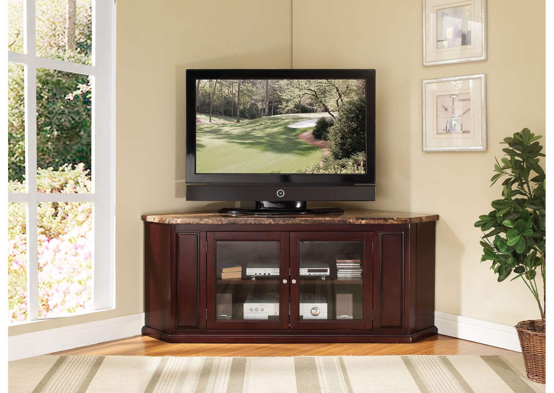 Just Furniture Nevin Faux Marble Espresso Corner Tv Stand
