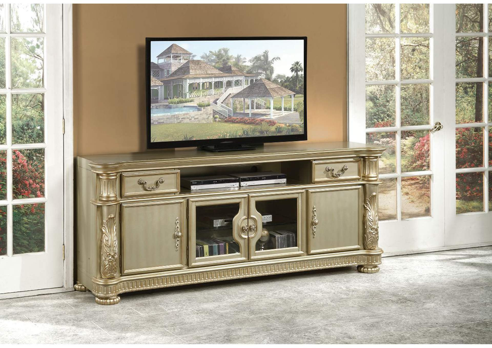 Vendome II Gold Patina & Bone TV Console,Acme