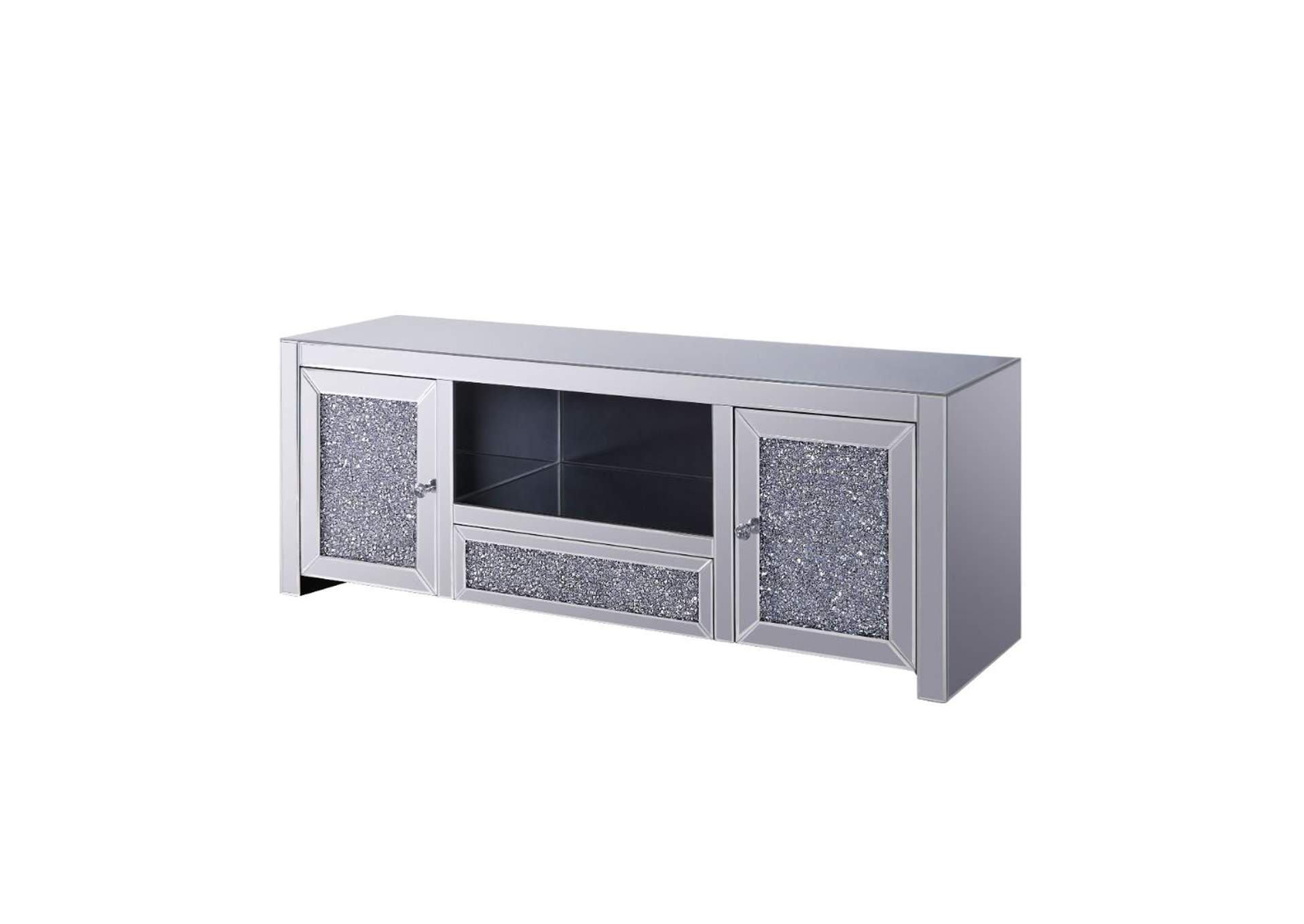 Noralie Mirrored/Faux Diamonds TV Stand,Acme