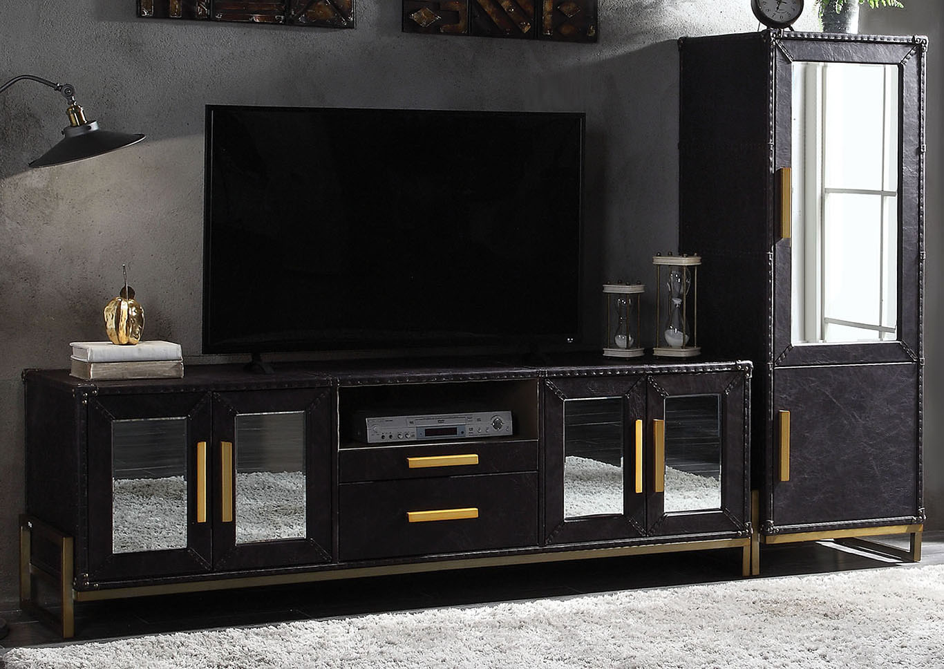 Keegan Antique Ebony Leather TV Stand,Acme