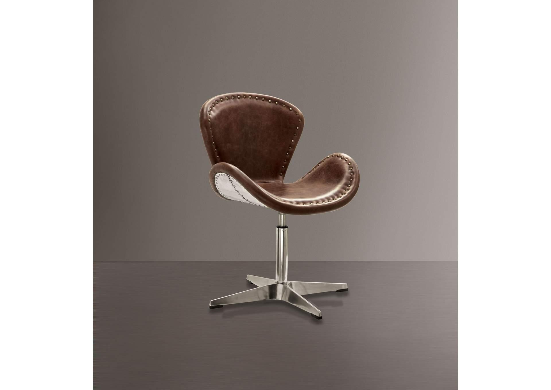 Brancaster Retro Brown TGL U0026 Aluminum Accent Chair W/Swivel (1Pc),Acme
