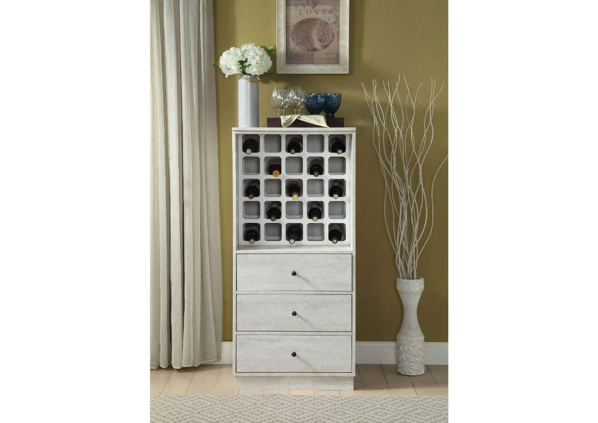 Wiesta White Wine Cabinet,Acme