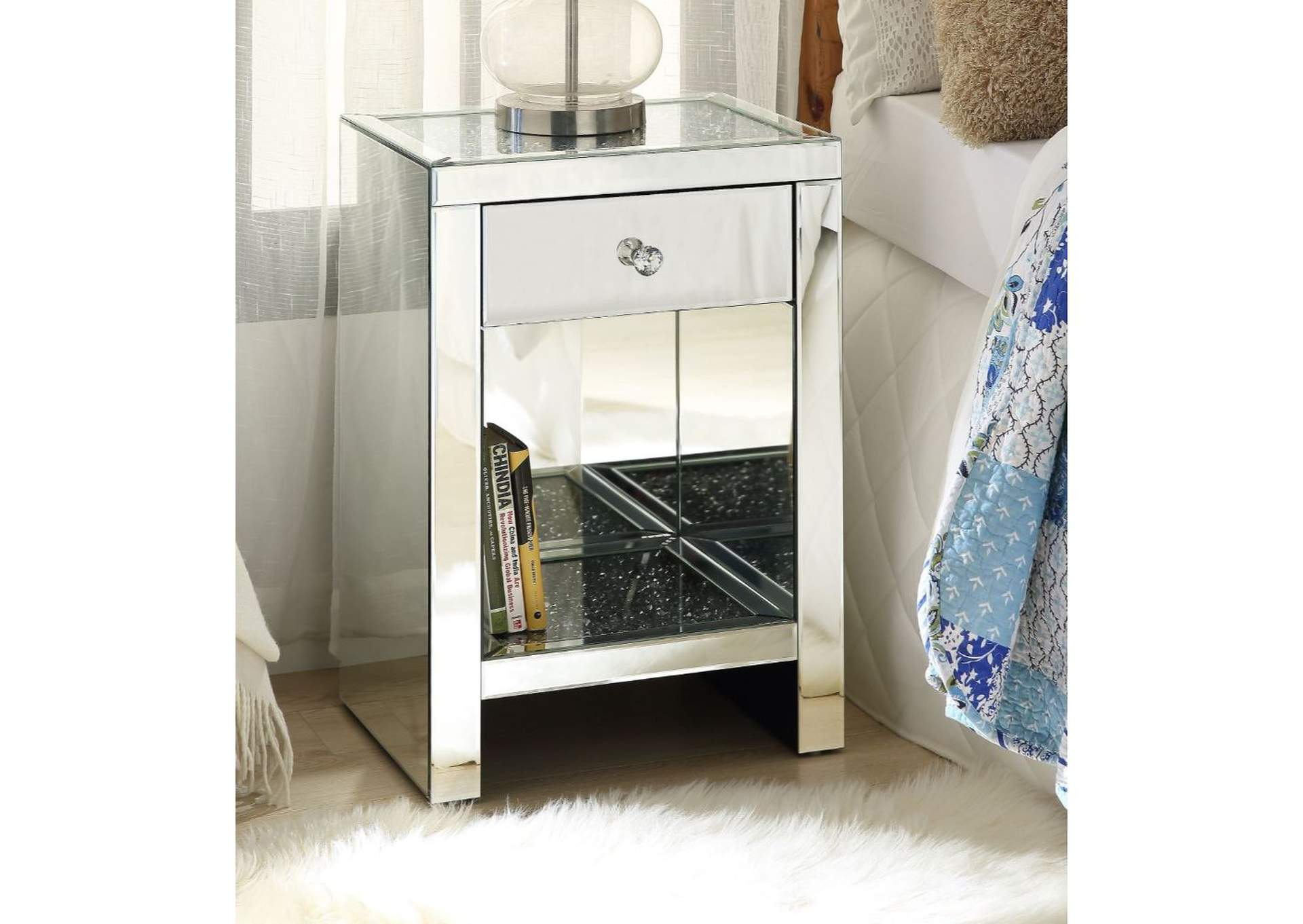 Noralie Mirrored Night Table,Acme