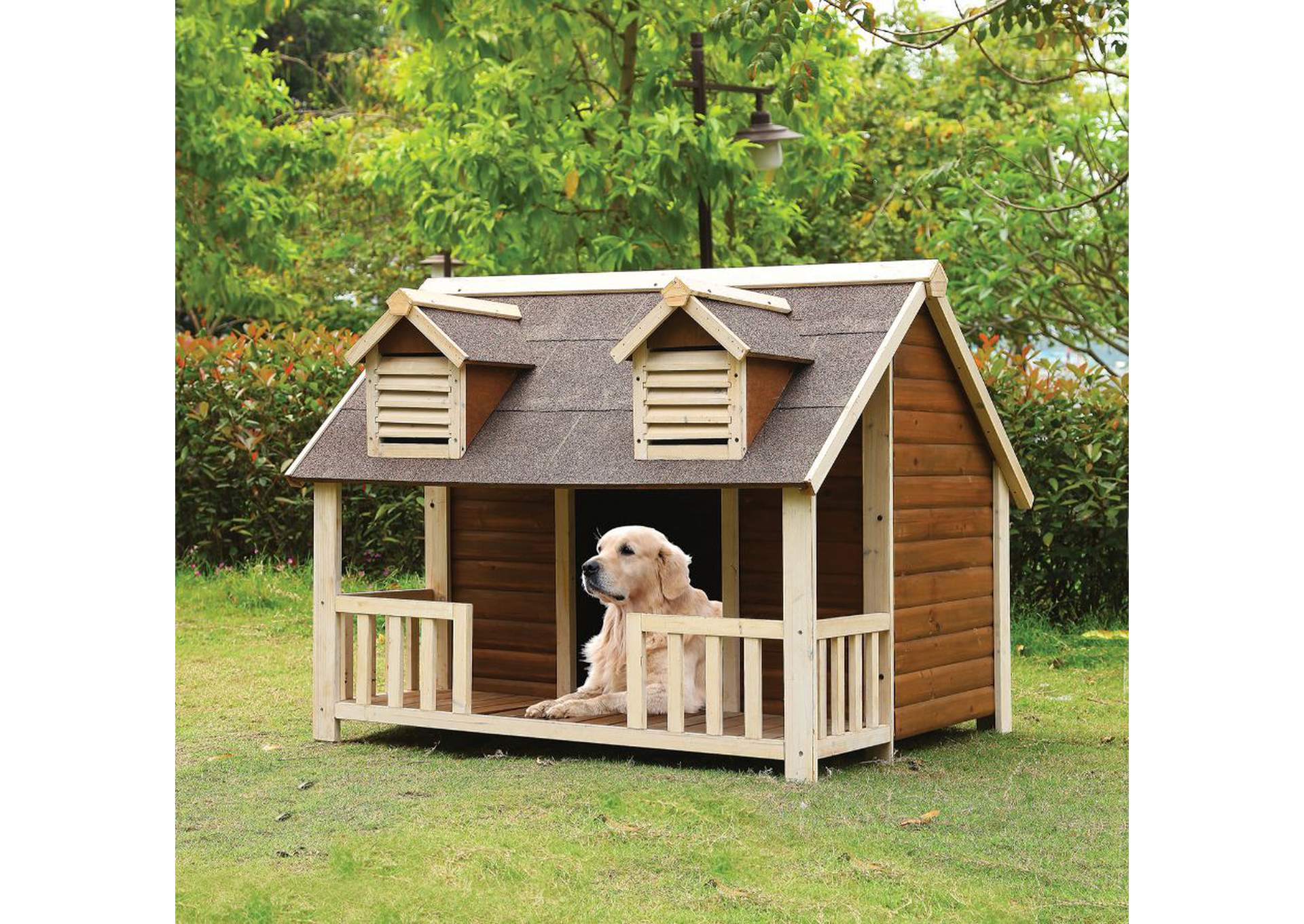 Rufus Cream & Oak Pet House,Acme
