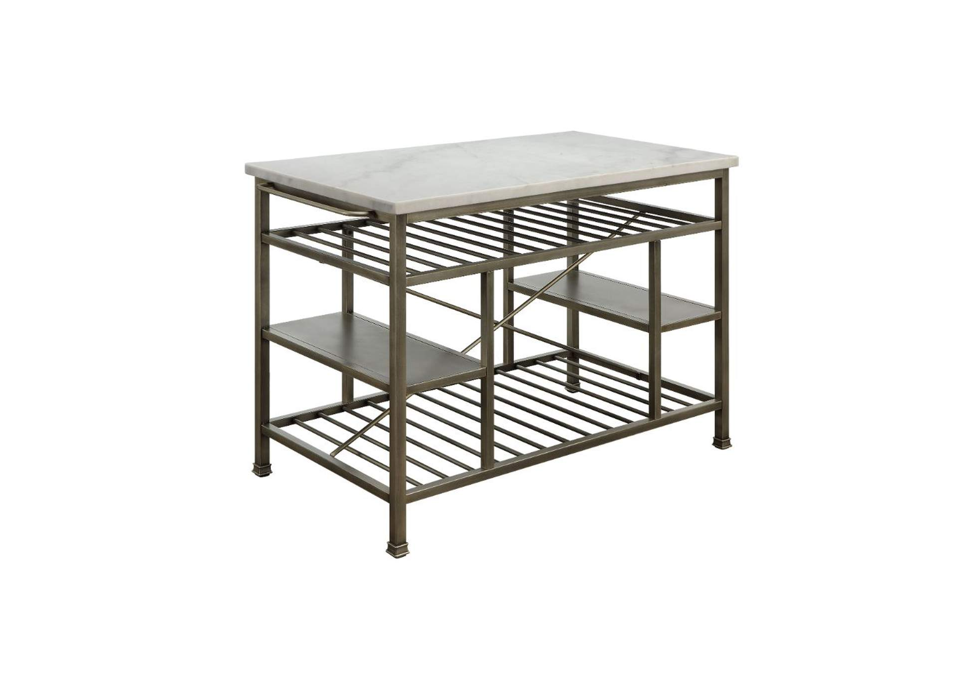 Lanzo Silver Kitchen Island,Acme