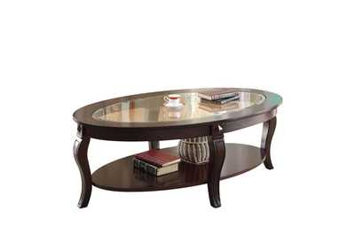 Riley Walnut and Clear Glass Coffee Table