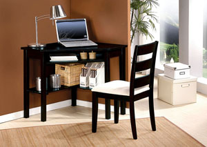 Naco Sandy Black Corner Desk and Chair