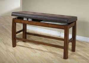 Morrison Brown PU and Oak Counter Height Bench w/Storage