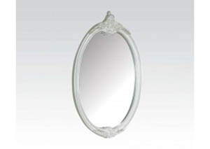 Pearl White and Gold Brush Accent Mirror Oval