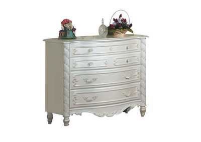 Pearl White and Gold Brush Accent Dresser