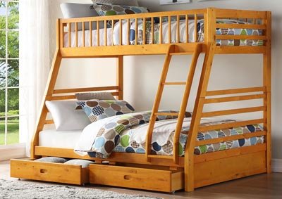Jason Honey Oak Twin/Full Bunk Bed w/2 Drawers