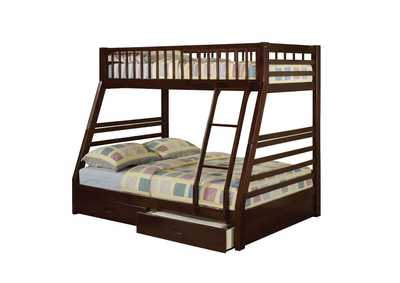 Jason Espresso Twin/Full Bunk Bed w/2 Drawers