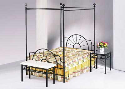 Sunburst Sandy Black Metal Canopy Bed (Rail Not Included)