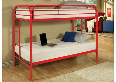 Thomas Red Twin/Twin Metal Bunk Bed