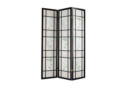 Iola Black 3 Panel Wooden Screen