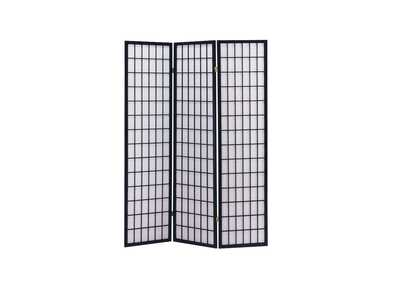 Naomi Black 3 Panel Wooden Screen