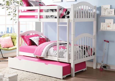 Heartland White Twin/Twin Bunk Bed w/Trundle