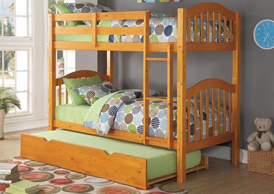 Heartland Honey Oak Twin/Twin Bunk Bed w/Trundle